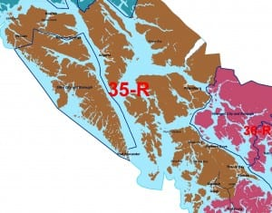 The new House District 35, which includes Sitka, Petersburg, Craig, Angoon, Hoonah, Kake and some other communities.
