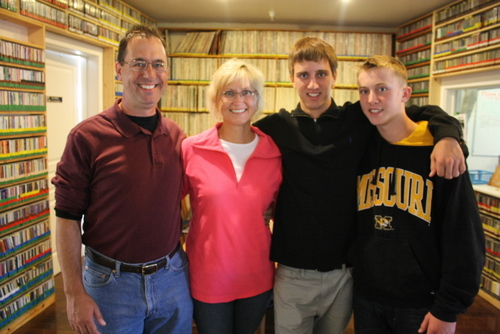 The Wilson family of Albuquerque, N.M., stopped by the station on Wednesday, July 31. Their son, second from the right, is Kevin Clyde Anderson Wilson. That's right. His initials are KCAW. Pictured from left are David, Mary Lee, Kevin and Luke. (KCAW photo by Ed Ronco)