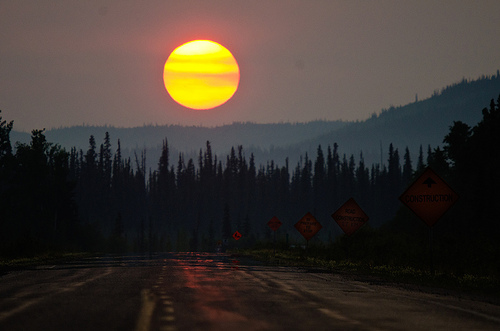 Fire danger remains high in the Yukon due to unseasonably warm and dry weather. This photo was taken in late June of this year. (Flickr photo/Jason Arhns)