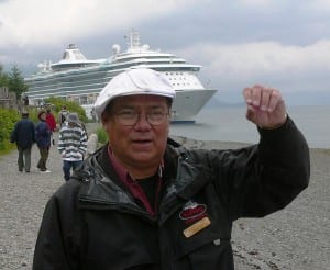 Johan Dybdahl, Icy Strait Point director of special projects, talks about the area's history as a cruise ship is anchored behind him. Huna Totem Corp. owns the attraction.