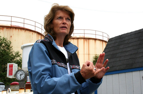 Senator Lisa Murkowski during an unexpected visit to Sitka on Monday morning. (KCAW photo/Erik Neumann)