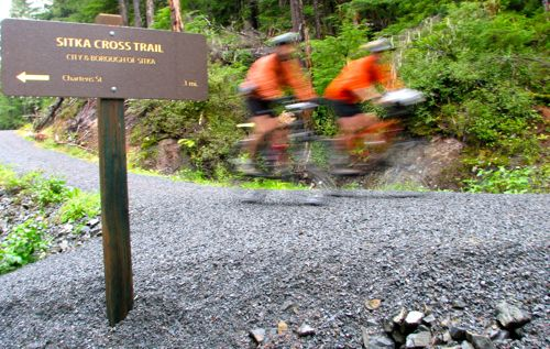 "The Cross Trail is designed for bikers, hikers walking side-by-side, and skiers -- the ""multi"" in multimodal. (KCAW photo/Robert Woolsey)"