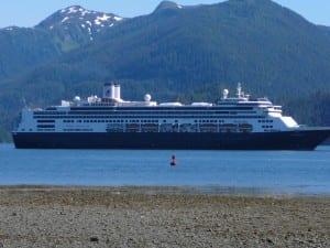 A cruise ship anchors near downtown Sitka. Passengers take small lightering boats to local docks. IEd Schoenfeld/CoastAlaska News)