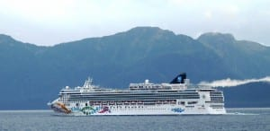 The cruise ship Norwegian Pearl sails its final voyage of the 2013 season through Chatham Strait in September 2013