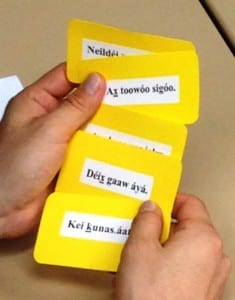 Cards with written Tlingit words are used during a language game during the clan conference. (Ed Schoenfeld/CoastAlaska News)