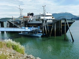 The LeConte docks at Juneau's Auke Bay terminal in June. A broken bow thruster knocked it out of service this week. (Ed Schoenfeld/CoastAlaska News)