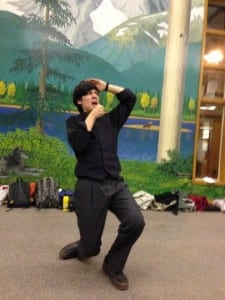 Sitka High School's Jack Petersen performing his command performance. Scroll down to the bottom of this post to hear audio from the performance. – Photo by Shady Grove Oliver/KSTK