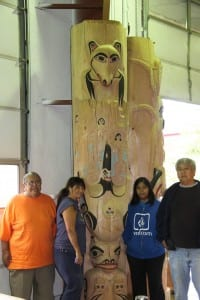 Kaagwaantaan clan members pose with the clan tribal house post. (National Park Service)