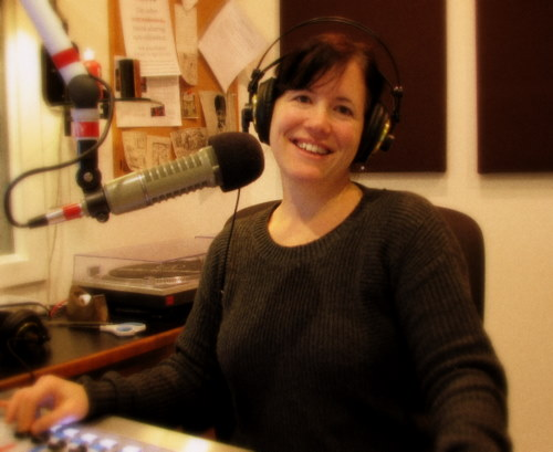 """Melissa Marconi-Wentzel. Melissa says that returning to broadcasting was a powerful reminder of """"who I am."""" (KCAW photo/Robert Woolsey)"""