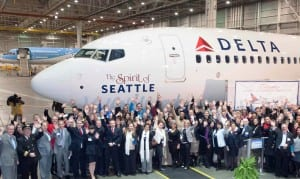 Delta Air Lines unveils a new jet, Spirit of Seattle, dedicated to the city. (Courtesy Delta Air Lines)