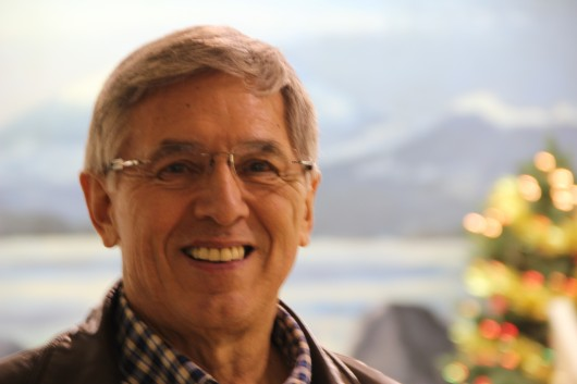 "Democratic candidate for Governor Byron Mallott called Sitka his ""second home"" on a campaign stop at the ANB Hall on December 18. (KCAW photo/Rachel Waldholz)"