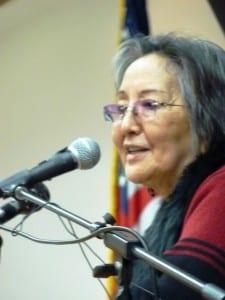 Rosita Worl addresses the Native Issues Forum in Juneau in 2011. (Ed Schoenfeld/CoastAlaska)