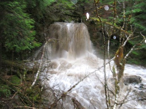 The lower falls at the Herring Cove trailhead. Upstream, several sections of the trail are under fast-flowing water. (Bill Foster photo)