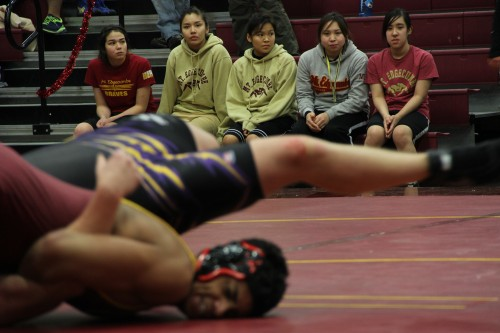 19 girls on the Mt. Edgecumbe wrestling team qualified for Regionals, often competing against boys. (KCAW photo/Emily Forman)