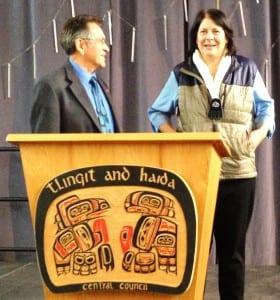 Tlingit-Haida Central Council President Ed Thomas and AFN President Julie Kitka speak after a Native Issues Forum address in Juneau. (Ed Schoenfeld/CoastAlaska)
