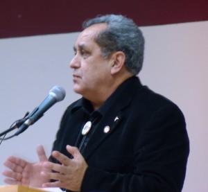 Outgoing Sealaska Board Chairman Albert Kookesh addresses Native leaders during a 2011 issues forum. (Ed Schoenfeld/CoastAlaska)