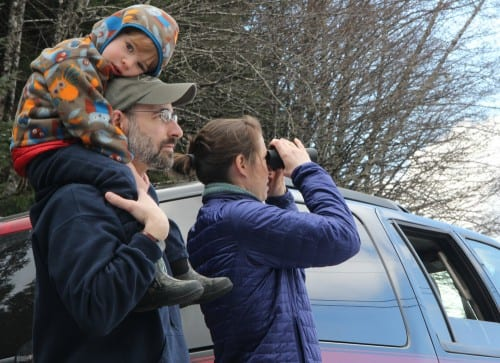 "Eric and Erin Matthes brought their son, Ever, to join dozens of Sitkans watching the opening of the sac roe herring season on Thursday (3-20-14). Ever is a true ""herring baby,"" said his parents. Born during herring season, he'll turn three on Friday. (KCAW photo/Rachel Waldholz)"