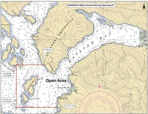 The Alaska Department of Fish & Game released this map, showing the boundaries of Thurday's herring season opener. Fishing was restricted to Starrigavan and Katlian bays, north of Sitka. (Map courtesy ADF&G)