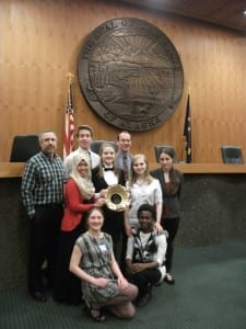 The Sitka High Mock Trial team stands in the Alaska Supreme Court Chambers in Anchorage. (SHS Photo)