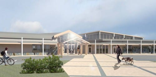 An architect's rendering of the renovated Harrigan Centennial Hall (Courtesy of McCool Carlson Green)