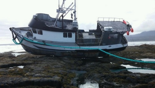 Stranded troller refloated in week-long salvage effort
