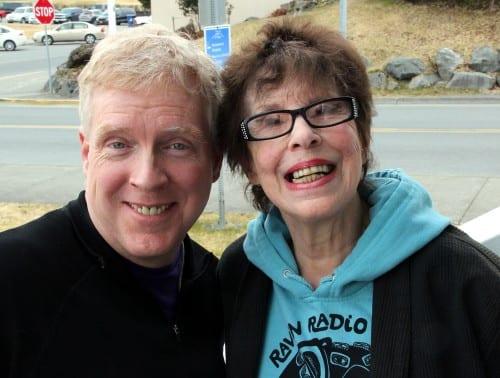 Next-door-neighbors for 27 years: KCAW News Director Robert Woolsey and Pauline Fredrickson. (KCAW photo/Rachel Waldholz)