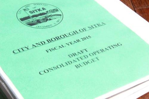 The City and Borough of Sitka's 2015 draft budget. (KCAW photo/Rachel Waldholz)