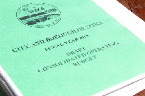 The City and Borough of Sitka's 2015 draft budget. (KCAW photo/Rachel Waldholz)