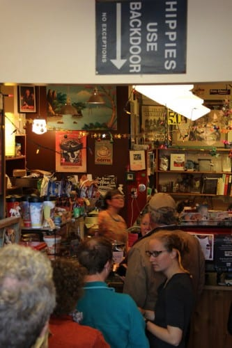 A line stretched out the door of the Backdoor Cafe on June 13, 2014 -- the last Friday before longtime owners Bernadette Rasmussen and Darryl Rehkopf handed over the reins. (KCAW photo / Rachel Waldholz)