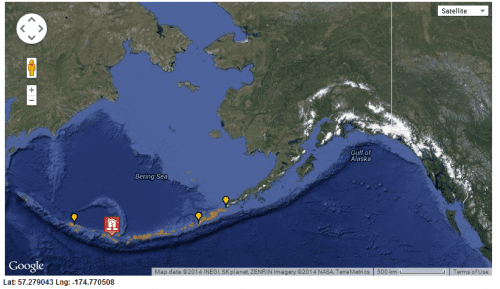 A map from the National Tsunami Warning Center shows the location of Monday's 8.0 magnitude earthquake in the Western Aleutians, indicated by the house. (Map courtesy of NTWC)