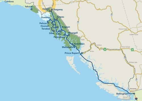 State ferries run from Bellingham, Wash., to Haines and Skagway. Ships also sail across the Gulf of Alaska and to Southeast ports. (Map courtesy AMHS)