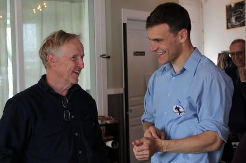 Democrat Forrest Dunbar campaigned in Sitka on August 7, 2014. (KCAW photo/Rachel Waldholz)