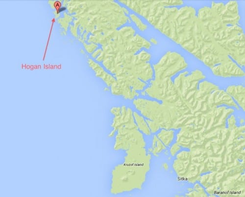 McConnell's skiff ran out of gas and drifted to Hogan Island. (KCAW graphic)