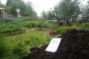 Soil for the taking at Blatchley Community Garden. (KCAW photo/Greta Mart)