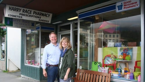 Dirk and Trish White have owned Harry Race Pharmacy for over two decades.(KCAW photo/Greta Mart)
