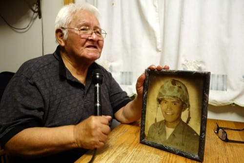 Herman Davis, 81, joined the Marine Corps at the age of 23 and served from 1956 to 1960, working on jet planes. He was stationed briefly in Japan, before returning to Sitka for good. (Emily Kwong/KCAW photo)