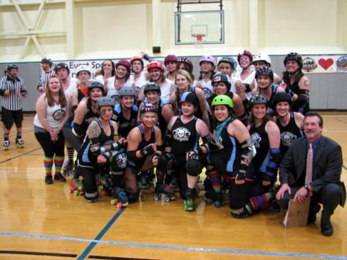 The Sitka Sound Slayers after their 335-163 victory over the Garnet Grit Betties. This was the second team the Slayers have bouted in Southeast and they hope to invite more. (Emily Kwong/KCAW photo)