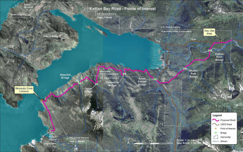 The Katlian Bay Road would extend for nine miles from the end of Sitka's existing road system. (Image courtesy of DOT)