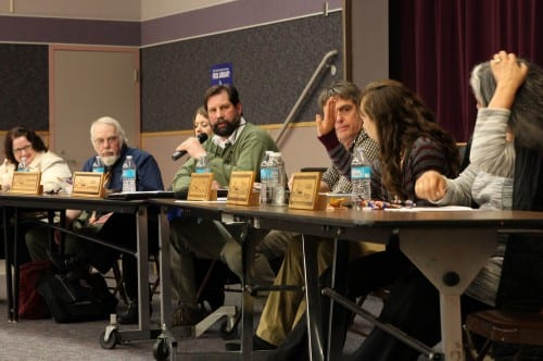 "The April 15 meeting was billed as a ""final"" budget hearing, but the School Board postponed a final vote until after the legislature makes its decisions on education funding. From left: Sitka Schools Superintendent Mary Wegner, and School Board members Tom Conley, Jennifer Robinson, Lon Garrison, Tim Fulton, Kaya Duguay, and Cass Pook. (Rachel Waldholz/KCAW)"