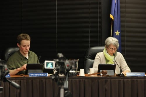 Deputy Mayor Matt Hunter and Mayor Mim McConnell during Tuesday night's Sitka Assembly meeting. (Rachel Waldholz/KCAW)