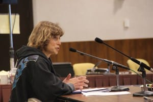 Linda Behnken, head of the Alaska Longline Fishermen's Association, testified before the council on Saturday. (Rachel Waldholz, KCAW)