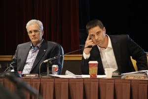 Alaska council members David Long (left) and Simon Kineen were forced to recuse themselves. (Rachel Waldholz, KCAW)