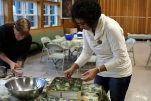 Sitka residents learn how to pickle and ferment fruits and vegetables at Sitka Kitch in mid-July. Pictured above, class participant Angelina Rubio. KCAW photo/Vanessa Walker.