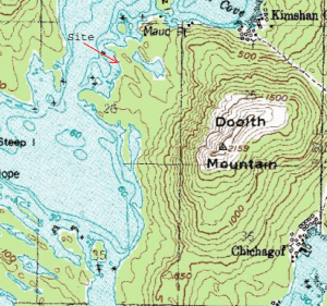 A map of Chichagof Island, noting where the Boomer Lands are located on it's west coast. Photo courtesy the Forest Service