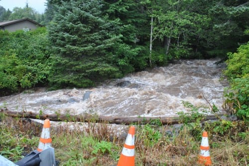 Cascade Creek was running high after heavy rainfall Tuesday, August 18. (Rebecca LaGuire, KCAW)