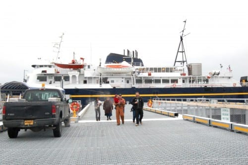 The ferry Aurora docks in Gustavus in 2010. It's now in Ketchikan for hull repairs and its annual overhaul. (Photo courtesy Alaska Department of Transportation)