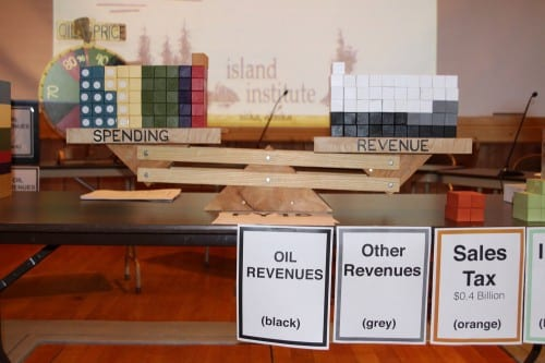 "Alaska's FY16 budget, writ large in wooden blocks. ""Our budget is balanced on the back of our savings,"" Kreiss-Tomkins said, most of which is from the Constitutional Budget Reserve - the white blocks. (Emily Kwong/KCAW photo)"