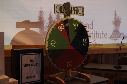 "The game was developed by Gunnar Knapp and Ian Laing of Anchorage. In it, the ever fluctuating price of oil is a literal ""wheel of fortune."" (Emily Kwong/KCAW photo)"