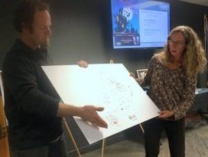Dave Neutzel (l.) and Bridget Hitchcock explain the playground's innovative design. (KCAW photo/Robert Woolsey)