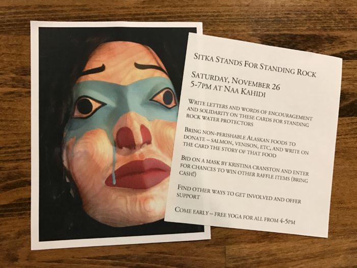 Sitka Stands for Standing Rock event will feature an hour of yoga, an art auction, and letter writing. (KCAW Photo/Emily Russell)